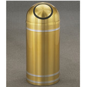 Glaro Capri Dome Top Waste Receptacle, 8 Gal, 12'' Dia x 30'' H, Satin Brass w/ Aluminum bands, Available in Multiple Sizes
