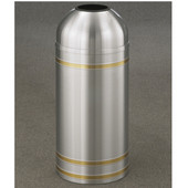 Glaro Capri Open Dome Top Waste Receptacle, 8 Gal, 12'' Dia x 30'' H, Satin Aluminum w/ Brass bands, Available in Multiple Sizes