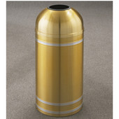 Glaro Capri Open Dome Top Waste Receptacle, 8 Gal, 12'' Dia x 30'' H, Satin Brass w/ Aluminum bands, Available in Multiple Sizes
