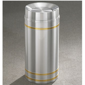Glaro Capri Tip Action Top Waste Receptacle, 12 Gal, 12'' Dia x 32'' H, Satin Aluminum w/ Brass bands, Available in Multiple Sizes