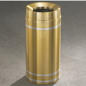 Glaro Capri Funnel Top Waste Receptacle, 12 Gal, 12'' Dia x 32'' H, Satin Brass w/ Aluminum bands, Available in Multiple Sizes