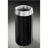 Glaro Mount Everest Satin Aluminum Cover Funnel Top Waste Receptacle, 12 Gal, 12'' Dia x 32'' H, , Available in Multiple Colors, Shown in Satin Black finish