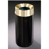 Glaro Mount Everest Satin Brass Cover Funnel Top Waste Receptacle, 12 Gal, 12'' Dia x 32'' H, , Available in Multiple Colors, Shown in Satin Black finish