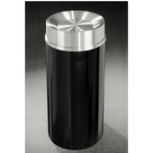 Glaro Mount Everest Satin Aluminum Cover Tip Action Top Waste Receptacle, 12 Gal, 12'' Dia x 32'' H, , Available in Multiple Colors, Shown in Satin Black finish