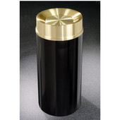 Glaro Mount Everest Satin Brass Cover Tip Action Top Waste Receptacle, 12 Gal, 12'' Dia x 32'' H, , Available in Multiple Colors, Shown in Satin Black finish