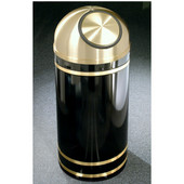Glaro Monte Carlo Satin Brass Cover Dome Top Waste Receptacle, 8 Gal, 12'' Dia x 30'' H, , Available in Multiple Colors, Shown in Satin Black finish