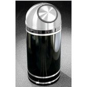 Glaro Monte Carlo Satin Aluminum Cover Dome Top Waste Receptacle, 8 Gal, 12'' Dia x 30'' H, , Available in Multiple Colors, Shown in Satin Black finish