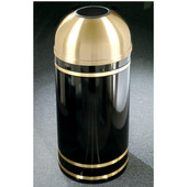 Glaro Monte Carlo Satin Brass Cover Open Dome Top Waste Receptacle, 8 Gal, 12'' Dia x 30'' H, , Available in Multiple Colors, Shown in Satin Black finish