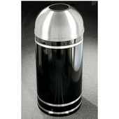 Glaro Monte Carlo Satin Aluminum Cover Open Dome Top Waste Receptacle, 8 Gal, 12'' Dia x 30'' H, , Available in Multiple Colors, Shown in Satin Black finish