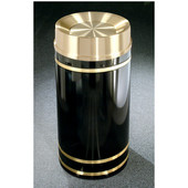 Glaro Monte Carlo Satin Brass Cover Tip Action Top Waste Receptacle, 12 Gal, 12'' Dia x 32'' H, , Available in Multiple Colors, Shown in Satin Black finish