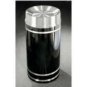 Glaro Monte Carlo Satin Aluminum Cover Tip Action Top Waste Receptacle, 12 Gal, 12'' Dia x 32'' H, , Available in Multiple Colors, Shown in Satin Black finish