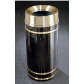 Glaro Monte Carlo Satin Brass Cover Funnel Top Waste Receptacle, 12 Gal, 12'' Dia x 32'' H, , Available in Multiple Colors, Shown in Satin Black finish