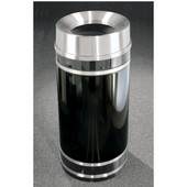 Glaro Monte Carlo Satin Aluminum Cover Funnel Top Waste Receptacle, 12 Gal, 12'' Dia x 32'' H, , Available in Multiple Colors, Shown in Satin Black finish