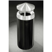 Glaro Canopy Top Satin Aluminum Cover Waste Receptacle, 12 Gal, 12'' Dia x 39'' H, , Available in Multiple Colors, Shown in Satin Black finish