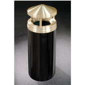 Glaro Canopy Top Satin Brass Cover Waste Receptacle, 12 Gal, 12'' Dia x 39'' H, , Available in Multiple Colors, Shown in Satin Black finish