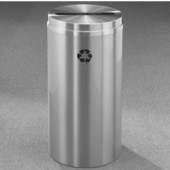 Glaro RecyclePro Satin Aluminum Cover Paper Recycling Receptacle, 33 Gal, 20'' Dia x 35'' H All Satin Aluminum