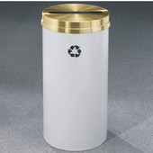 Glaro RecyclePro Satin Brass Cover Paper Recycling Receptacle, 33 Gal, 20'' Dia x 35'' H, , Available in Multiple Colors, Finish Shown Not Available