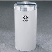 Glaro RecyclePro Satin Aluminum Cover Paper Receptacle, 33 Gal, 20'' Dia x 35'' H, Paper Message, , Available in Multiple Colors, Finish Shown Not Available