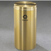 Glaro RecyclePro Satin Brass Cover Paper Receptacle, 33 Gal, 20'' Dia x 35'' H Paper Message, All Satin Brass