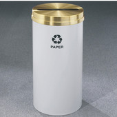 Glaro RecyclePro Satin Brass Cover Paper Receptacle, 16 Gal, 15'' Dia, , Available in Multiple Colors, Newspaper Message, Shown with ''Paper'' Message in Unavailable Finish