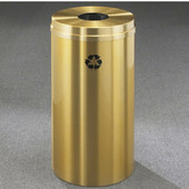 Glaro RecyclePro Satin Brass Cover Bottles & Cans Receptacle, 33 Gal, 20'' Dia x 35'' H, All Satin Brass