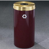 Glaro RecyclePro Satin Brass Cover Bottles & Cans Receptacle, 33 Gal, 20'' Dia x 35'' H, , Available in Multiple Colors, Shown in Burgundy