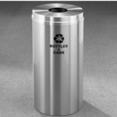 Glaro RecyclePro Satin Aluminum Cover Bottles & Cans Receptacle, 33 Gal, 20'' Dia x 35'' H, Bottles & Cans Message, All Satin Aluminum