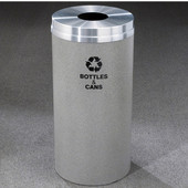 Glaro RecyclePro Matching Powder Coat Cover Bottles & Cans Receptacle, 33 Gal, 20'' Dia x 35'' H, , Available in Multiple Colors, Bottles & Cans Message, Shown with Aluminum Cover in Unavailable Finish