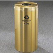 Glaro RecyclePro Satin Brass Cover Bottles & Cans Receptacle, 16 Gal, 15'' Dia x 33'' H, Bottles & Cans Message, All Satin Brass