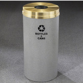 Glaro RecyclePro Satin Brass Cover Bottles & Cans Receptacle, 33 Gal, 20'' Dia x 35'' H, , Available in Multiple Colors, Bottles & Cans Message, Finish Shown Not Available