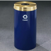Glaro RecyclePro Satin Brass Cover Bottles & Cans Receptacle, 16 Gal, 15'' Dia x 33'' H, , Available in Multiple Colors, Cans Message, Shown with Brass Cover in Unavailable Finish