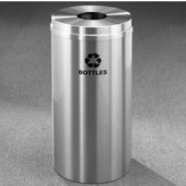 Glaro RecyclePro Satin Aluminum Cover Bottles & Cans Receptacle, 16 Gal, 15'' Dia x 33'' H, Bottles Message, All Satin Aluminum