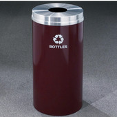 Glaro RecyclePro Matching Powder Coat Cover Bottles & Cans Receptacle, 16 Gal, 15'' Dia x 33'' H, Bottles Message, , Available in Multiple Colors, Shown in Burgundy with Aluminum Cover