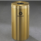 Glaro RecyclePro Satin Brass Cover Bottles & Cans Receptacle, 16 Gal, 15'' Dia x 33'' H, Bottles Message, All Satin Brass