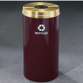 Glaro RecyclePro Satin Brass Cover Bottles & Cans Receptacle, 33 Gal, 20'' Dia x 35'' H, , Available in Multiple Colors, Bottles Message, Shown in Burgundy