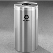 Glaro RecyclePro Satin Aluminum Cover Bottles & Cans Receptacle, 16 Gal, 15'' Dia x 33'' H, Glass Message, All Satin Aluminum