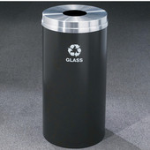 Glaro RecyclePro Matching Powder Coat Cover Bottles & Cans Receptacle, 33 Gal, 20'' Dia x 35'' H, , Available in Multiple Colors, Glass Message, Shown with Aluminum Cover in Unavailable Finish