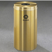 Glaro RecyclePro Satin Brass Cover Bottles & Cans Receptacle, 16 Gal, 15'' Dia x 33'' H, Glass Message, All Satin Brass
