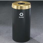 Glaro RecyclePro Satin Brass Cover Bottles & Cans Receptacle, 33 Gal, 20'' Dia x 35'' H, , Available in Multiple Colors, Glass Message, Finish Shown Not Available