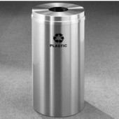 Glaro RecyclePro Satin Aluminum Cover Bottles & Cans Receptacle, 33 Gal, 20'' Dia x 35'' H, Plastic Message, All Satin Aluminum