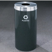 Glaro RecyclePro Matching Powder Coat Cover Bottles & Cans Receptacle, 33 Gal, 20'' Dia x 35'' H, Available in Multiple Colors Plastic Message, Shown with Aluminum Cover in Unavailable Finish