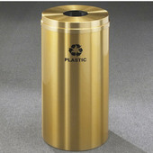 Glaro RecyclePro Satin Brass Cover Bottles & Cans Receptacle, 16 Gal, 15'' Dia x 33'' H, Plastic Message, All Satin Brass