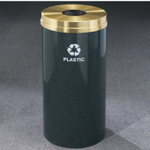 Glaro RecyclePro Satin Brass Cover Bottles & Cans Receptacle, 33 Gal, 20'' Dia x 35'' H, , Available in Multiple Colors, Plastic Message, Finish Shown Not Available
