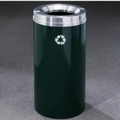 Glaro RecyclePro Matching Powder Coat Cover Waste Receptacle, 16 Gal, 15'' Dia x 33'' H, , Available in Multiple Colors, Shown in Hunter Green with Aluminum Cover