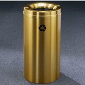 Glaro RecyclePro Satin Brass Cover Waste Receptacle, 33 Gal, 20'' Dia x 35'' H, All Satin Brass