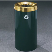 Glaro RecyclePro Satin Brass Cover Waste Receptacle, 16 Gal, 15'' Dia x 33'' H, , Available in Multiple Colors, Shown in Hunter Green