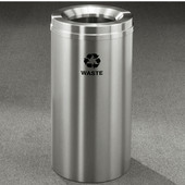 Glaro RecyclePro Satin Aluminum Cover Waste Receptacle, 33 Gal, 20'' Dia x 35'' H, Waste Message, All Satin Aluminum