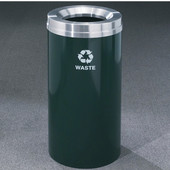 Glaro RecyclePro Satin Aluminum Cover Waste Receptacle, 16 Gal, 15'' Dia x 33'' H, , Available in Multiple Colors, Waste Message, Shown in Hunter Green