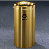 Glaro RecyclePro Satin Brass Cover Waste Receptacle, 16 Gal, 15'' Dia x 33'' H, Waste Message, All Satin Brass