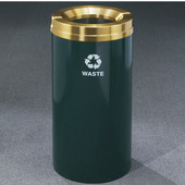 Glaro RecyclePro Satin Brass Cover Waste Receptacle, 16 Gal, 15'' Dia x 33'' H, , Available in Multiple Colors, Waste Message, Shown in Hunter Green